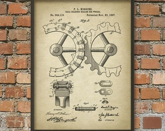 Cogs and Gears Patent Wall Art Poster - Steampunk Print