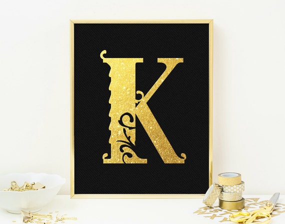 Wall Decor Letter K : Letter k monogram wall art print typography by quantumprints