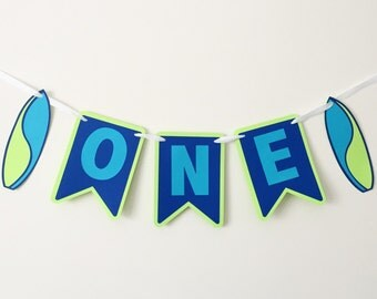 One with Surfboards - Surfs Up Party - Surfs Up - High Chair Banner - 1st Birthday Nautical Themed Banner - Nautical Party
