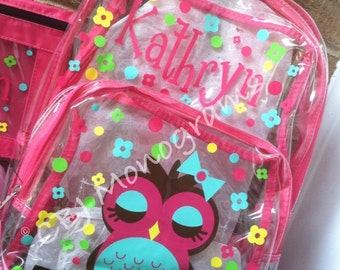 Personalized Clear Backpacks-Owl design