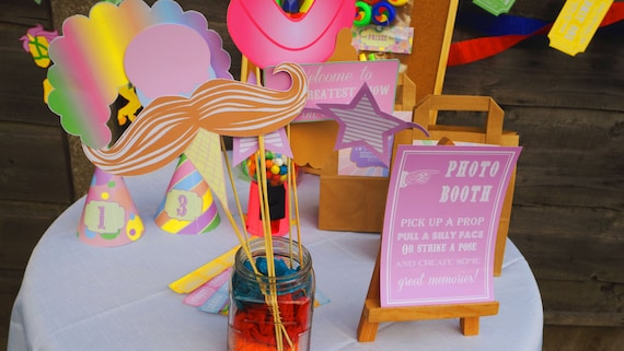 CARNIVAL- Fair Ground - Carousel - Birthday - Shower - Pastel - PHOTOBOOTH Props - Masks - PRINTABLE Pdf - Instant Download