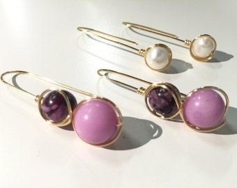 Jasper Jade Freshwater Pearl Wire Wrapped Dangle Earrings