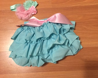 Teal Ruffle diaper cover set with matching headband