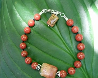 Red Jasper, Cherry Creek Jasper, Sterling Silver Bracelet
