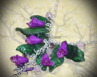 Solstice Dance of the Sidhe Foxglove Necklace - Fairy Pagan Jewellery, Summer