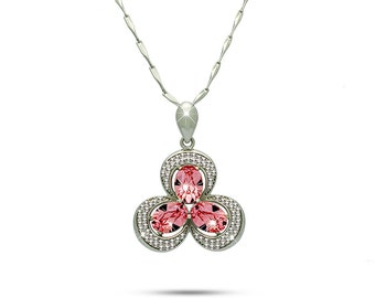 925 Sterling Silver Pink Crystals Clover Turquoise Necklace Fashion Three Leaf Clover