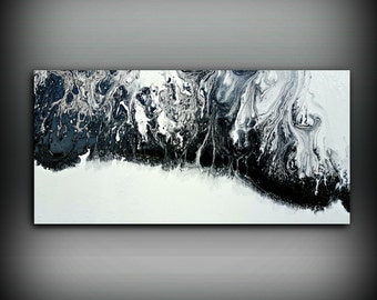ORIGINAL Painting, Art Painting Acrylic Painting Abstract Painting, Black and White Wall Hanging, Extra Large Wall Art, Wall Decor 24 x 48