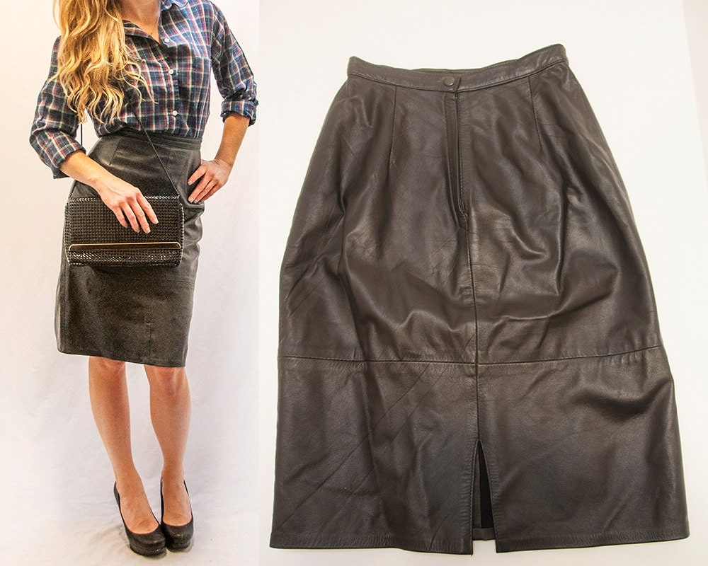 80s high waisted black leather skirt womens leather pencil