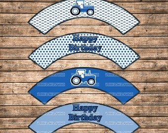DIY Printable Blue Tractor Themed Cupcake Wrappers - Printable Cupcake Wrapper - Instant Download