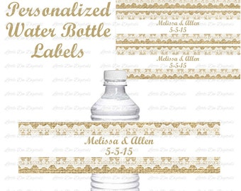 Personalized Burlap   Lace Water Bottle Labels   Printable Labels   Wedding  Anniversary Birthday   DIYBurlap water labels   Etsy. Diy Wedding Water Bottle Labels. Home Design Ideas