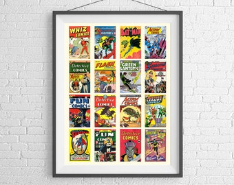DC Comics Art Poster - Historical Collection of Comics - Art Print - Wall Art