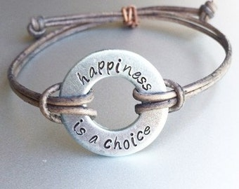 Happiness is a choice - Shay Carl and the Shaytards inspired leather bracelet