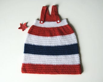 Newborn baby girl dress, crochet baby dress,, american flag clothing, soft cotton girls dress, Patriotic baby dress, take home gown