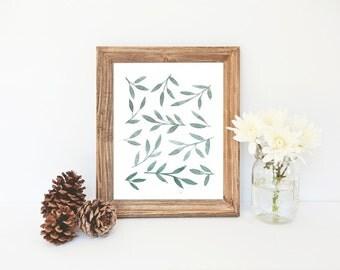 Watercolor Leaves Print