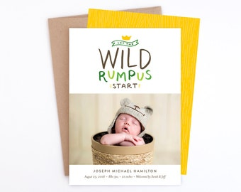 Birth Announcement - Let the Wild Rumpus Start in Green & Yellow - Where the Wild Things Are