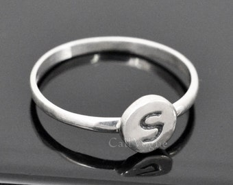 Initial 925 sterling silver Ring, Basic Women Ladies Silver Ring, Alphabet ring