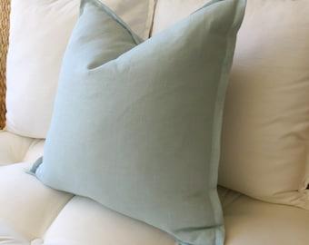Spa Blue Linen Pillow Cover, Flange Edge Pillow, Seafoam, Blue-green, Modern Pillow, Pillow Sham, Euro Sham, 18 x 18 inch, 20 x 20, 22 x 22