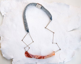 Conceptual geometric necklace, contemporary jewelry,