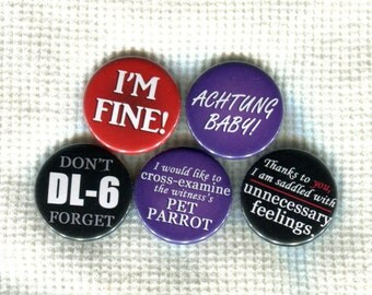 "1.25"" Ace Attorney quote pinback buttons"