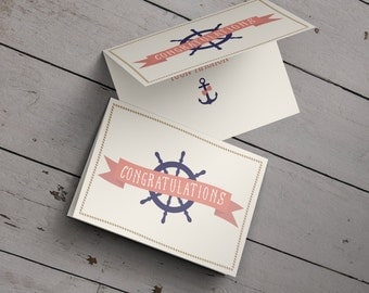 Congratulations Card: Bridal Shower // Engagement // Wedding // Nautical // Anchor // Ship Wheel // Love