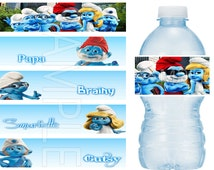 Smurfs Birthday Party Water Bottle Labels Water Resistant - Vinyl Stickers BOLD colors