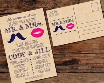 PRINTABLE Mustache/Lips Couples Wedding Shower Postcard Invitation - Digital File - Print-at-Home