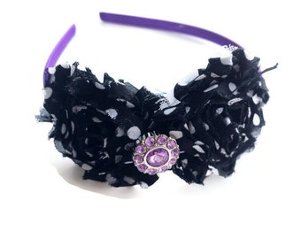 Purple Satin Lined Headband for Girls - Black and White Polka Dot Flower Head Band for Teens - Shabby Flower Headband - Fashion Headband