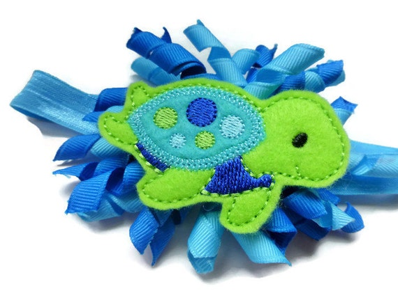 Under the Sea Turtle Headband - Turtle Hair Bow - Ocean Blue Headband ...