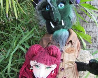 Rockabilly Beauty and her Beast, OOAK cloth art doll pair
