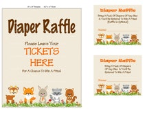 Woodland Diaper Raffle, Diaper Raffle Idea, DIY Diaper Raffle Ticket, Bring Diapers Printable Diaper Raffle, Baby Raffle - Printables 4 Less