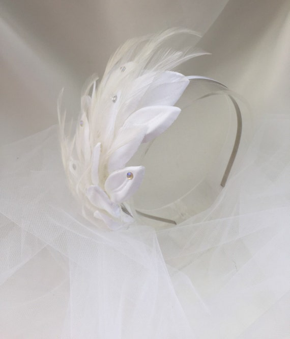 Feather Headpiece, Art Deco Headpiece, Feather Headband, Feather Fascinator,  Bridal headband, Bridal Fascinator-   POP FIZZ CLINK Headpiece