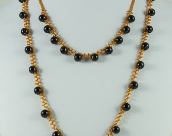 Black and Gold Double Strand Necklace