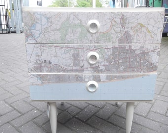 SOLD***Schreiber Three Drawer Chest showing map of Brighton & Hove