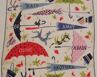 Vintage Designer Carl Tait Raining Cats and Dogs Mid Century Hankie