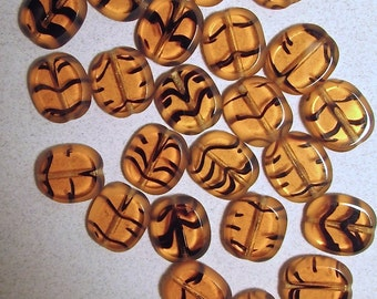 15 Vintage Amber with Black Stripe Glass Beads
