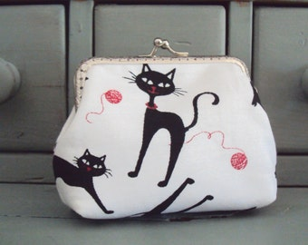 Black cat purse, cat coin purse, cat lovers gift