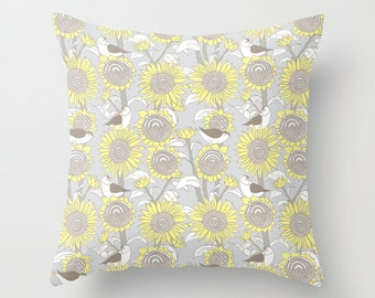 """Sunflowers and birds Cushion Cover / Throw Pillow (16"""" x 16"""")"""
