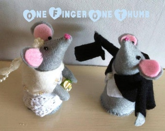 Bespoke Wedding Mice. Customised bride and groom mice. A wonderful keepsake gift or a cake topper.