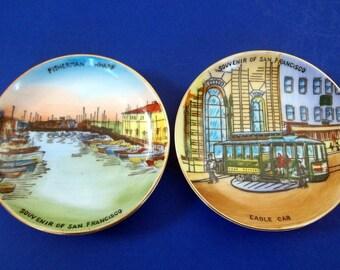 Miniature SAN FRANCISCO SOUVENIR Plates Set of Two Pair Fisherman's Wharf Cable Car Hand Painted Porcelain Japan Colorful Hangers Hanging