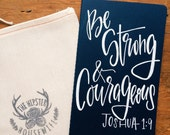 Men's prayer journal, Valentine's gift for him, be strong and courageous Joshua 1:9, Father's Day gift, scripture notebook