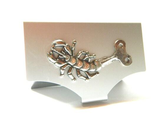Steampunk business card holder scorpio key silver for Steampunk business card holder