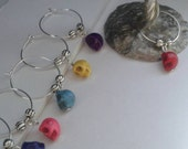 Wine Glass Charms, Six Coloured Sugar Skull Wine Charms, Halloween, Samhain, Party Favours, Host Gift, New Age, Punk, Goth