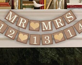 Wedding Banner Save The Date Banner Wedding Date Banners- Wedding Sign- Mr Mrs Banners Photo Prop Signs - Date Garland Decoration