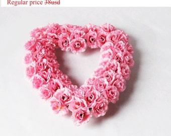 GRAND SALE Wedding Car Table Decor Pink Rose Heart Decoration Shabby Chic Wedding Cars Centerpiece Flower Arrangement Fabric Flowers Hanging