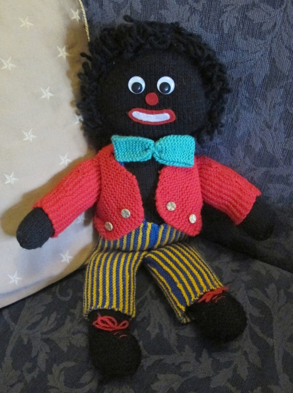 Knitted Golliwog Pattern : GOLLIWOG Doll Hand Knitted 50cms tall Boy Handmade GOLLY WOG