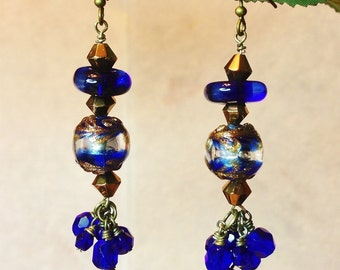Cobalt Crown Earrings