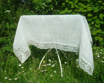 Loosely Woven Burlap Tablecloth With Wide Linen Lace; Burlap U0026 Lace Ivory  Tablecloth; Burlap