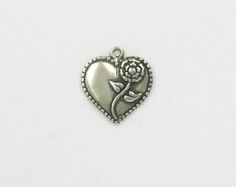 Sterling Silver Heart with a Rose Charm