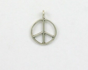 Sterling Silver Peace Sign Charm or Pendant