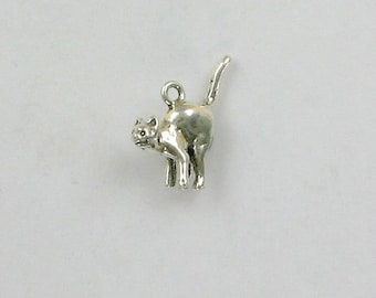 Sterling Silver 3D Alley Cat Charm - dc22